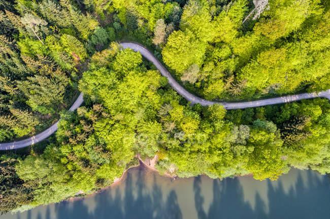 Germania, Baden-Wuerttemberg, Schurwald, Veduta aerea del bacino idrico di Herrenbach — Foto stock