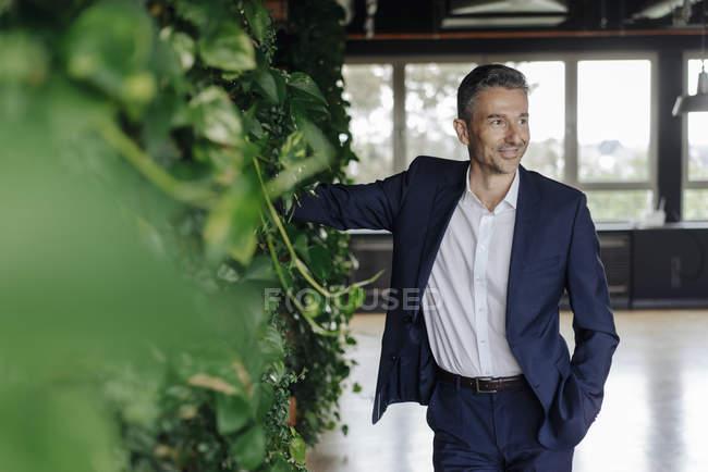 Усміхнений бізнесмен в зеленому офісі — стокове фото