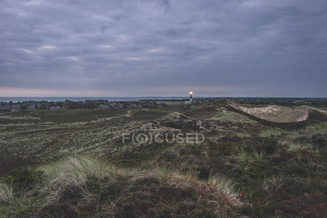 Germany, Schleswig-Holstein, Sylt, Kampen, view from Uwe dune to lighthouse — Stock Photo