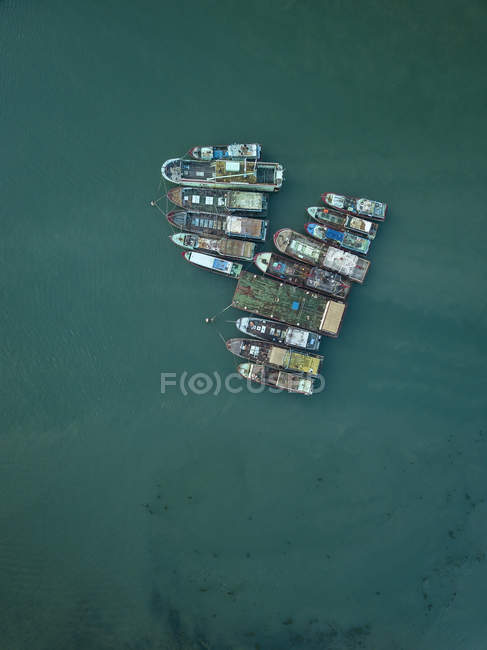 Indonesia, Bali, Aerial view of old boats — Stock Photo