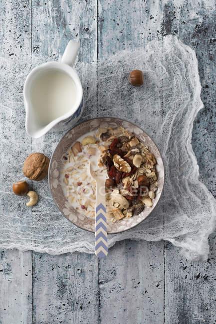 Schüssel Granola mit Nüssen und einem Krug Milch — Stockfoto