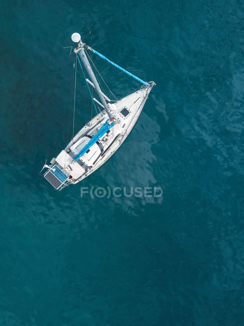 Indonesia, Bali, Aerial view of sailing boat — Stock Photo