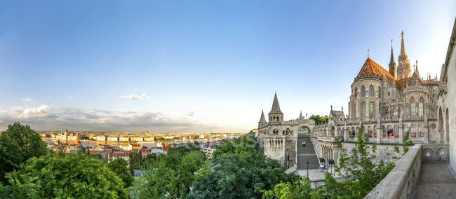 Hungary, Budapest, View from Fishermans Bastion, panoramic view — Stock Photo