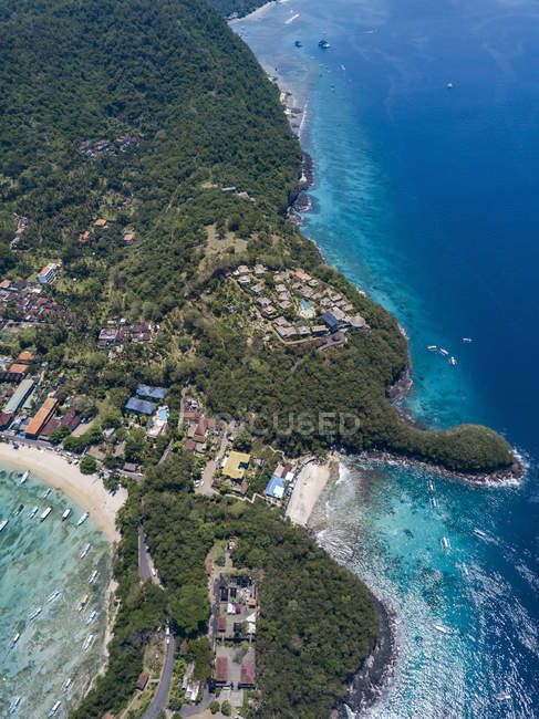 Indonesia, Bali, Aerial view of Blue Lagoon beach — Fotografia de Stock
