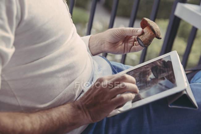 Homme utilisant une tablette pour la recherche d'informations sur les champignons collectés, vue partielle — Photo de stock