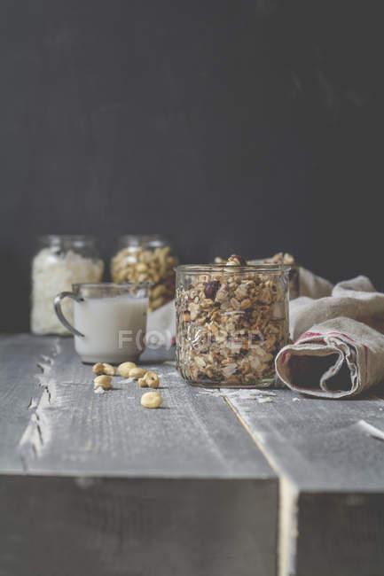 Сніданок, мюслі з кокосових молоком, горіхи кеш'ю на дереві — стокове фото
