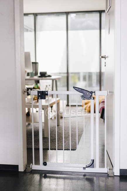 Primo piano della barriera metallica nella porta dell'ufficio — Foto stock