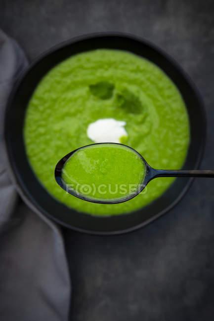 Cucchiaio e ciotola di minestra di menta pisello — Foto stock