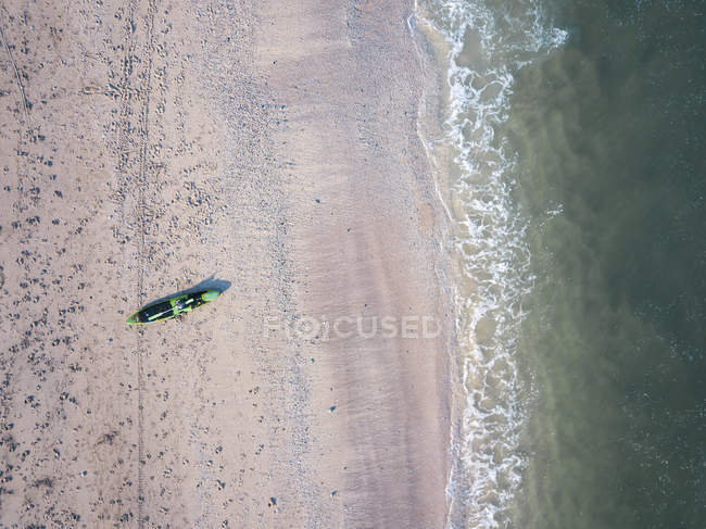 Indonesia, Bali, Aerial view of Kuta beach, canoe from above — стокове фото