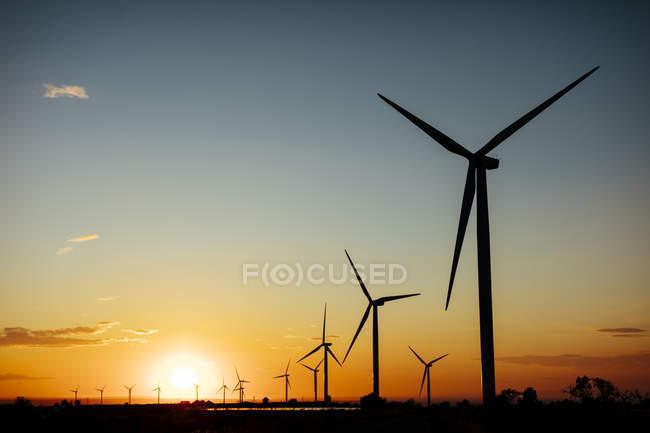 Іспанія, вітряні ферми на заході сонця — стокове фото