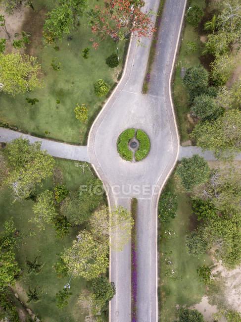 Индонезия, Бали, Вид с воздуха на дорогу и пути в парке — стоковое фото