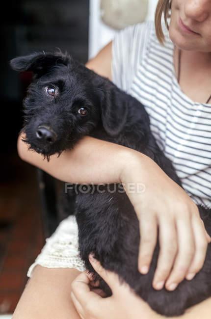Portrait of black puppy on girl's lap — Stock Photo