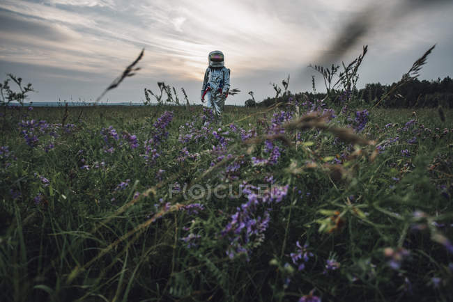 Spaceman exploring nature, standing in meadow with blooming flowers — Stock Photo