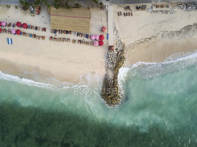 Indonesia, Bali, Aerial view of Pandawa beach, jetty — Fotografia de Stock