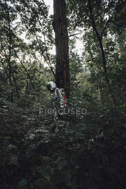 Spaceman exploring nature, looking at plants in forest — Stock Photo
