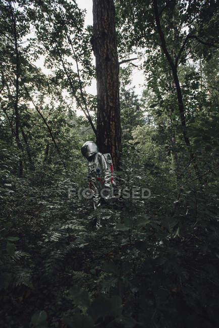 Spaceman que explora a natureza, olhando plantas na floresta — Fotografia de Stock