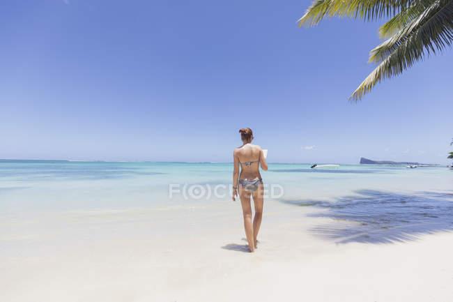 Mauritius, Cap Malheureux, giovane donna in piedi in acqua, lettura di un libro, vista posteriore — Foto stock