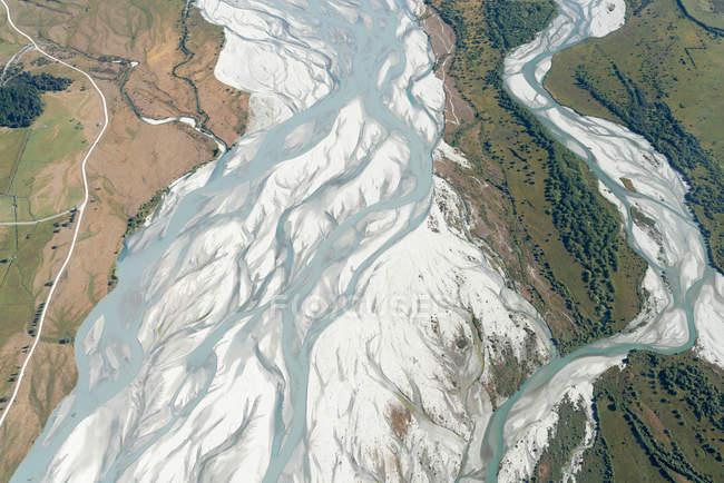 Nova Zelândia, console Sul, Otago, Wanaka, vista aérea do Rio de Matukituki — Fotografia de Stock