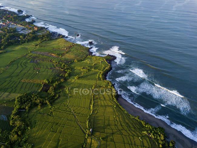 Indonesia, Bali, Kedungu, Vista aérea de la playa de Kedungu - foto de stock