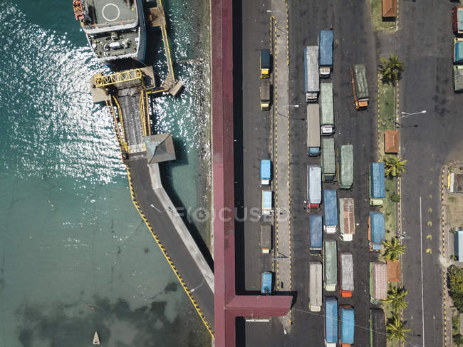 Indonésie, Bali, Vue aérienne de Padangbai, port d'en haut — Photo de stock