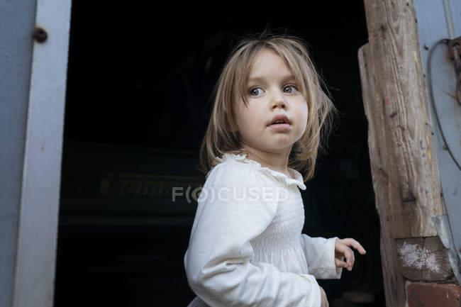 Portrait of little girl against the barn — Stock Photo