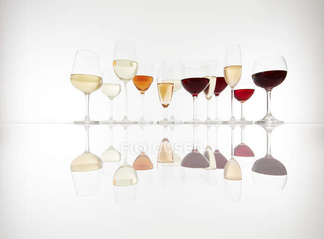 Various glasses with wine, prosecco and champagne — Stock Photo