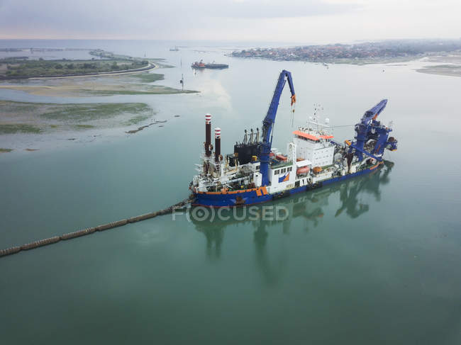 Indonesia, Bali, Aerial view of ship for petroleum production — Stock Photo
