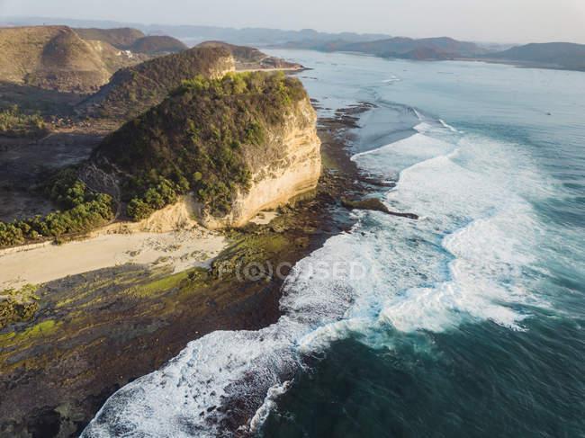 Indonesia, Lombok, Veduta aerea della costa vicino a Kuta — Foto stock