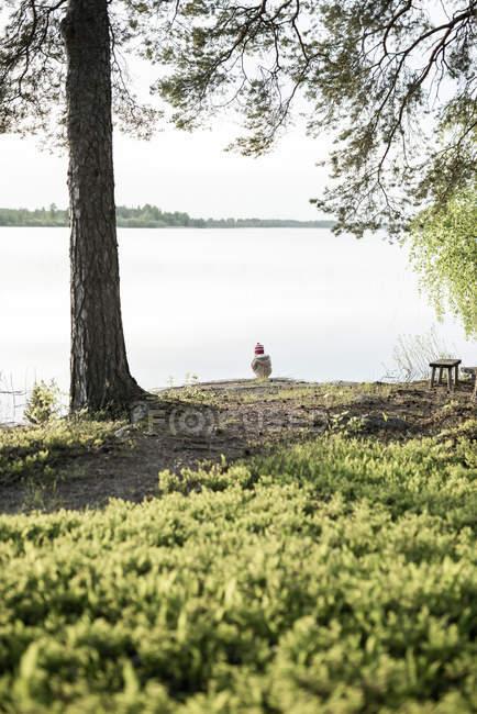 Einsames kleines Mädchen steht am See im Grünen — Stockfoto
