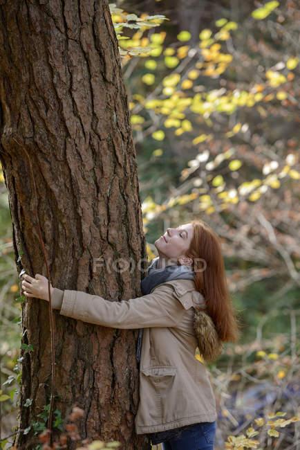 Sorrindo adolescente abraçando tronco árvore na floresta outonal — Fotografia de Stock