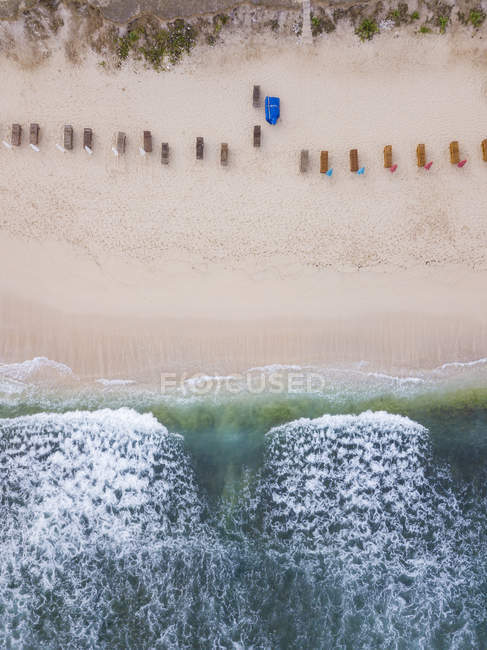Indonesia, Bali, Aerial view of Balangan beach, empty sun loungers — Foto stock