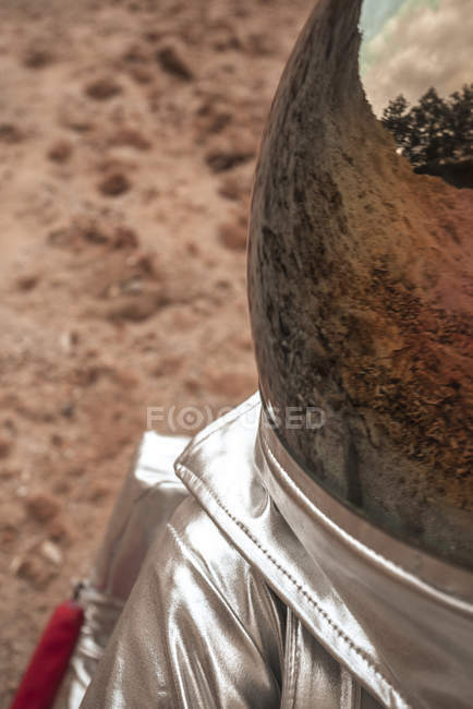 Closeup of reflection of earth on space hat — Stock Photo