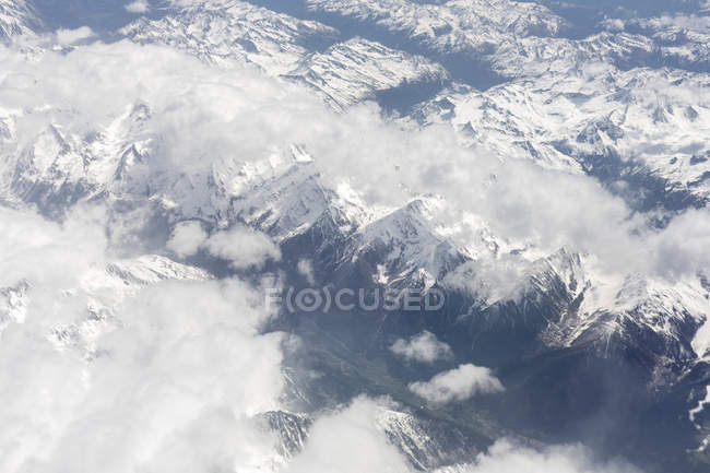 Morocco, snow-covered Atlas mountains, aerial view — Stock Photo