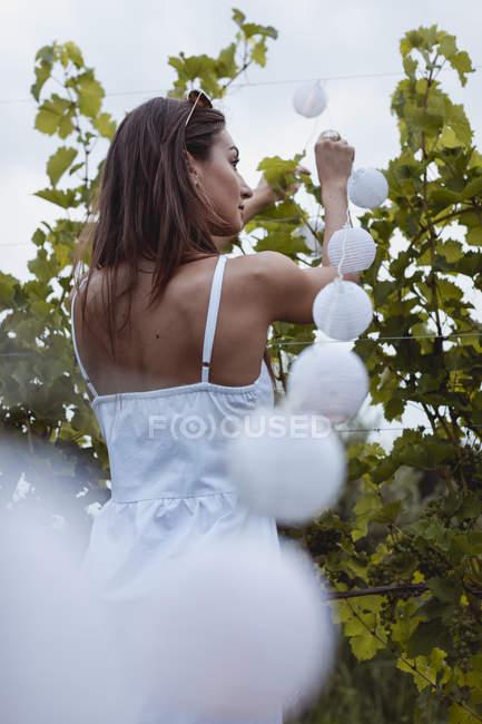 Молодая женщина украшает виноградник волшебными огнями для пикника — стоковое фото