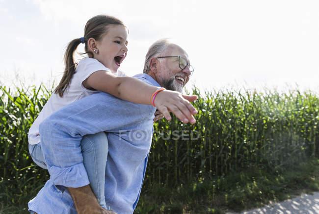 Grandfather carrying granddaughter piggyback — Stock Photo