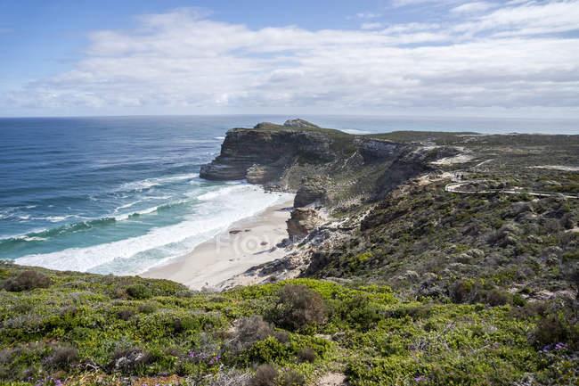 África, África do Sul, cabo ocidental, cabo da boa esperança, praia vista do ponto do cabo — Fotografia de Stock