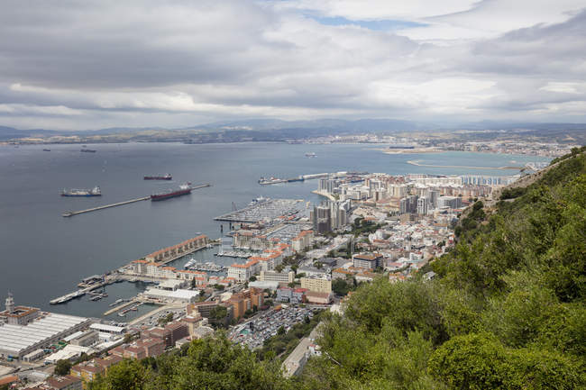 Gibraltar, view to city and  Mediterranean Sea from above — Stock Photo