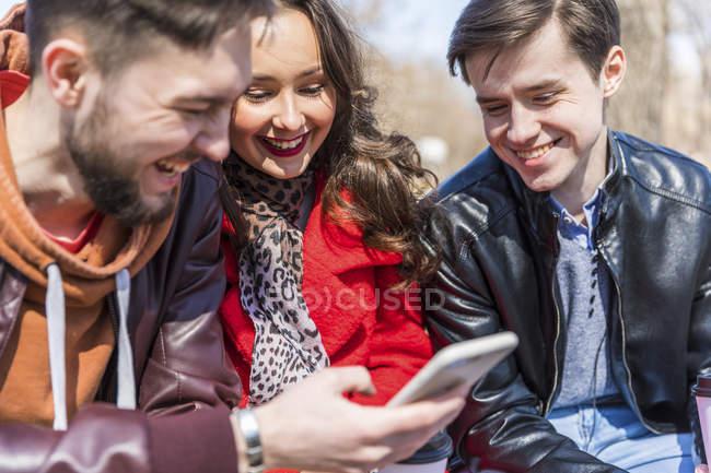 Россия, Москва, группа друзей в парке, веселимся вместе, пользуемся смартфонами — стоковое фото