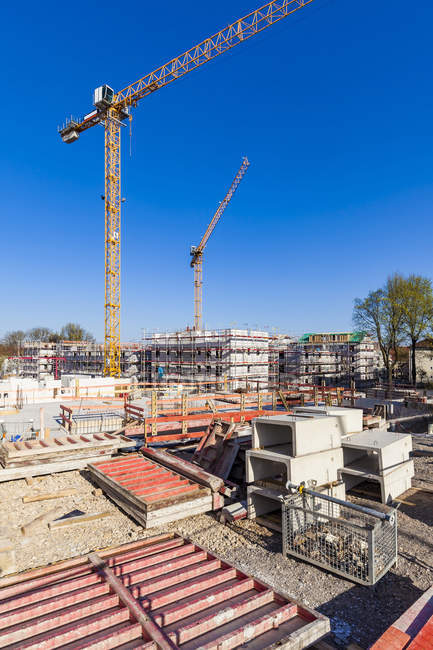 Germany, Stuttgart, view to construction sites of new multi-family houses — Stock Photo