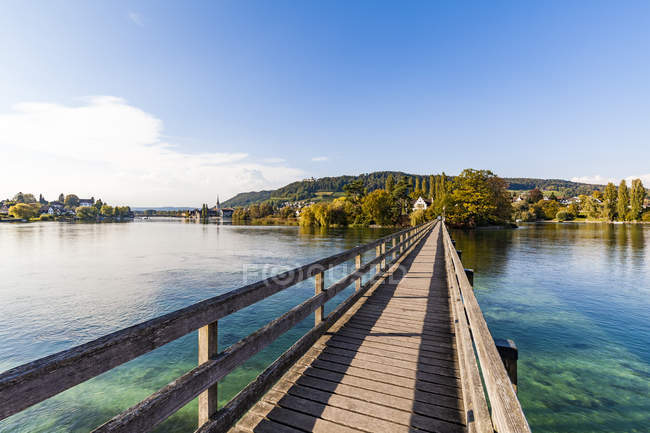 Switzerland, Thurgau, Lake Constance, Rhine river, View to Island Werd, footbridge — Stock Photo