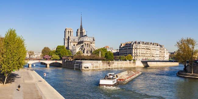 Франция, Париж, Собор Нотр-Дам и испуганный корабль на реке Сена — стоковое фото