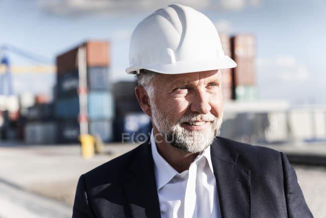 Empresario en el puerto de carga, con casco de seguridad, retrato - foto de stock