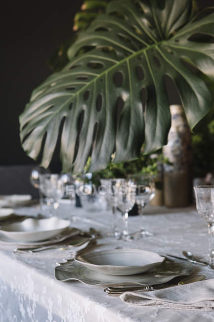 Place setting for a luxury brunch in Italy — Stock Photo