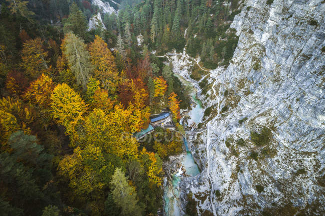 Austria, Lower Austria, Aerial view of a snack station in the Oetschergraeben in autumn — Stock Photo