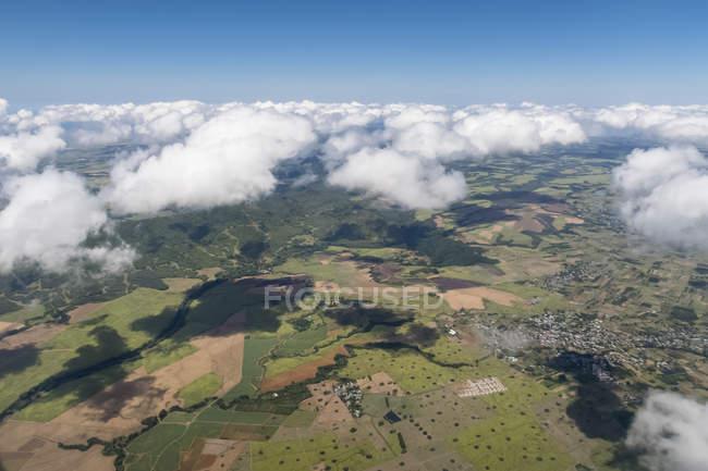 Mauritius, Veduta aerea dell'isola con le nuvole — Foto stock