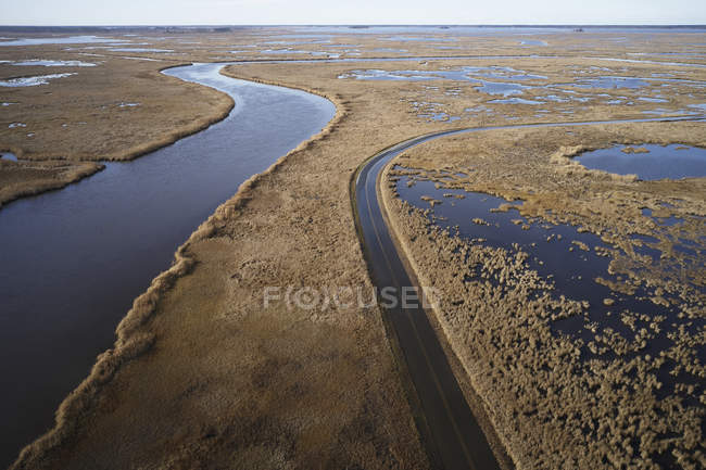 EUA, Maryland, Cambridge, Inundações na maré alta devido ao aumento do nível do mar no Blackwater National Wildlife Refuge — Fotografia de Stock