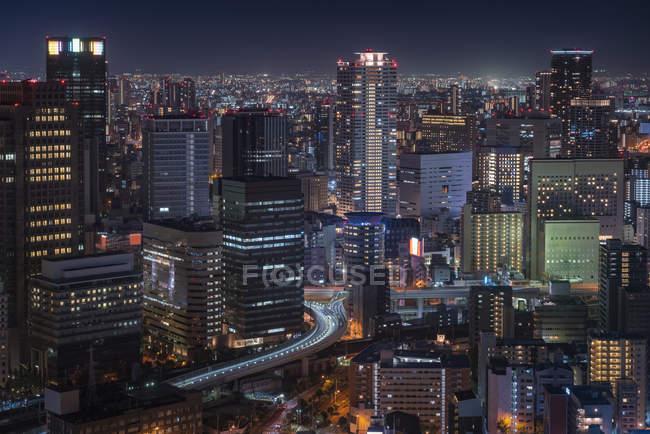 Japan, Osaka, Aerial view at night — Stock Photo