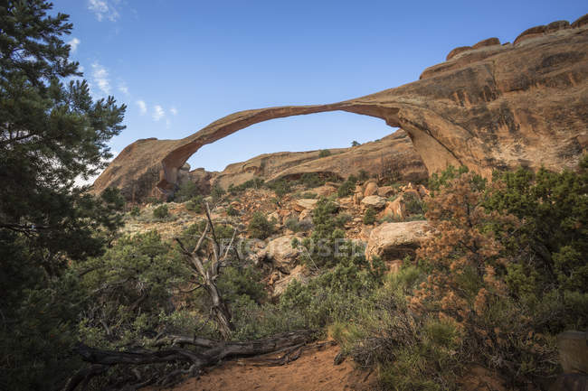 USA, Utah, Arches National Park, Natural arch and rock formations at Arches National Park, Landscape Arch — Stock Photo