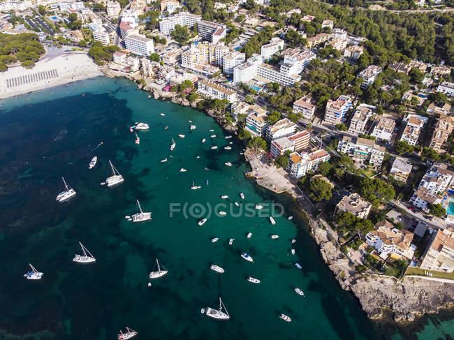 Spain, Baleares, Mallorca, Calvia region, Aerial view of Santa ponca, marina — Stock Photo