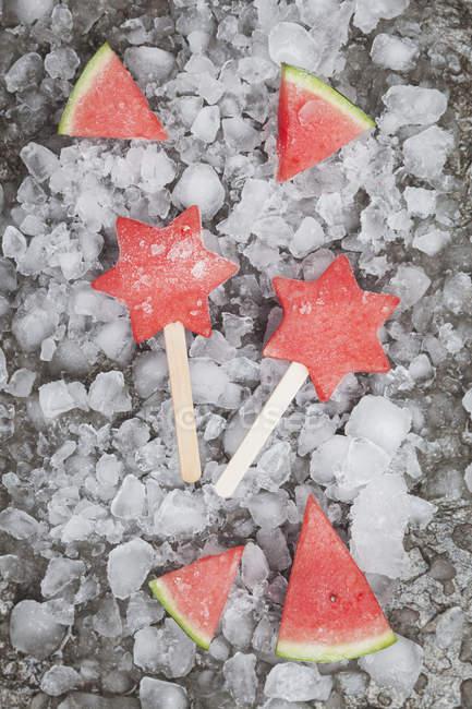 Caseiro congelado melancia estrela gelo piruetas — Fotografia de Stock